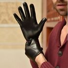 man's fashion 2016 top goat leather classic below wrist leather gloves black