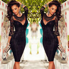 Fashion Women Black Floral Lace Bodycon Long Sleeve Cocktail Evening Party Dress