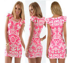 Women Elegant Slim dress Bodycon Dress Floral Printed Short Sleeve Party Dresses
