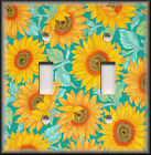 Light Switch Plate Cover - Yellow And Blue Turquoise Sunflowers  Home Decor