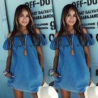New Summer Women Sexy Off Shoulder Denim Dress Loose Evening Party Casual Dress