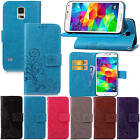 Fr Samsung Galaxy S5 SV i9600 With Starp Case Leather Embossed+Soft Rubber Cover