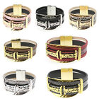 Multilayer Women Men New Genuine Leather Gold Silver Magnet Clasp Bracelet Cuff