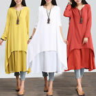Casual Cotton Linen Long Sleeve A-line Shirt Loose V-neck Layer Long Dress LAL
