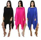 Women Dress Long Sleeve Knit Dresses Fashion Solid Irregular Hem Maxi Dress