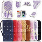 Embossed Flip Wallet Cover Dream Catcher Diamond Leather Case+Strap Fr Cellphone