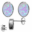 BJC® Sterling Silver 925 Cultured Opal Oval Stud Earrings 3.00ct Studs Brand New
