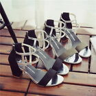 Yoocart Womens Sandals Chunky Middle Heels Ankle Strap Summer Suede Shoes