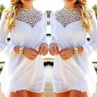 Sexy Womens Long Sleeve Lace Floral Chiffon Cocktail Evening Party Mini Dress