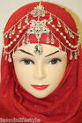 New Diamante Pearl Matha Patti HijabTikka Head Piece Bridal Costume Jewellery