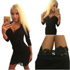 Women's Mini Dress Bodycon Lace 3/4 Sleeve Party Black V Neck Sexy Causal WOW6