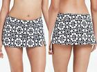 Lands' End Swim Mini Black White Mosaic Tummy Control Swim Skirt New