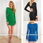 Sexy Womens Long Sleeve High Waist Party Cocktail Evening Bodycon Mini Dress