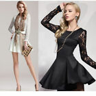 Fashion Womens Long Sleeve Lace Evening Sexy Party Cocktail Mini Dress