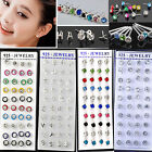 CHIC 40PCS X Crystal Earring Studs Wholesale 925 Sterling Silver Free shipping