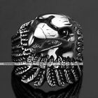 Retro Men Punk Rock Goth Stainless Steel Carved Vivid Eagle Head Biker Ring Gift