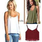 2016 Womens Plain Swing Vest Sleeveless Top Strappy Cami Ladies Plus Size Flared