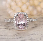 Cushion Halo Pave Diamond 7x9mm Morganite 14K White Gold Engagement Wedding Ring