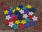 25/50/100 ASSORTED COLOUR WOODEN STAR BUTTONS #15mm# CRAFTS/SCRAPBOOKING