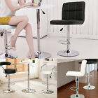 New 2 x FAUX LEATHER CHROME BAR STOOL BREAKFAST KITCHEN SWIVEL BAR STOOLS