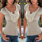 Womens Summer Lace Vest Top Short Sleeve Casual Tank Blouse Tops T-Shirt