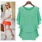Typical Women's Chiffon Shirts Summer Sleeve Double Layers T-shirts Tops Blouse
