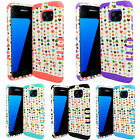 For Samsung Galaxy S7 Impact Resistant Hybrid Case Cover Small Colorful Hearts