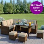 Brown 9 Seater Rattan Corner Sofa Table Set Garden Furniture Stools FREE COVER!