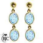 BJC® 9ct Yellow Gold Natural Blue Topaz Oval Double Drop Dangling Studs Earrings