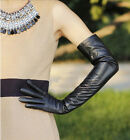 58cm long plain style classic evening party leather gloves in black
