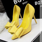 Pointed Toe Stilettos Suede Bowknot High Heels Women Shoes OL Party Bridal Pumps