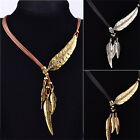Women Vintage Bronze Rope Chain Feather Pendant Choker Chunky Statement Necklace