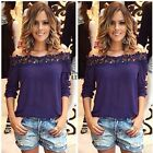Womens Sexy White Lace Off-shoulder Loose Tops Fashion Casual T-Shirt Blouse TXC