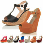 WOMENS LADIES HIGH WEDGE HEEL T-BAR PEEP TOE SHOES SUMMER PLATFORM SANDALS SIZE