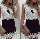 New Women Black And White Lace Ladies Sleeveless Vintage Casual Mini Dress