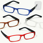 NEW RIMMED READING GLASSES & POUCH - BLACK, RED, BLUE, BROWN - VARIOUS STRENGTHS