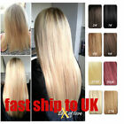 24inch Clip in Human Hair Extensions 100g-200g One Piece Black Brown Blonde Red