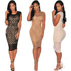Fashion Women Floral Sexy Sleeveless Straight Stretch Bodycon Slim Party Dress A