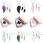 3pc Angel's Wing Gemstone Quartz Crystal Pendant Necklace Hook Earrings with Box