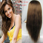 "10""-20"" Full Lace Glueless Wigs 100% Remy Indian Human #4 Yaki Straight Hair Wig"