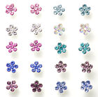 STERLING SILVER AUSTRIAN CRYSTAL NOSE WIRE STUDS VARIOUS PETAL DIAMANTES FLOWER