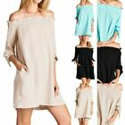 Off Shoulder Bubble Gauze Dress with Side Pockets and Tied Sleeves Casual S M L
