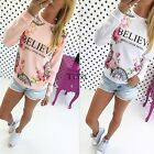 NEW Women Letter Floral Long Sleeve Round Neck Tee Blouse T-Shirt Shirt Tops
