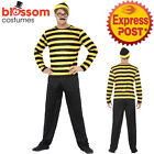 CL954 Odlaw Where's Wally Mens Yellow Waldo Cartoon Costume Book Week Outfit