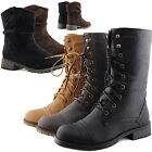 Ankle Combat Women Boots Casual Slouch Comfort Western Fashion Riding Cowboy