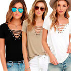 Fashion Womens V-Neck Loose Pullover Casual T Shirt Short Sleeve Shirt Blouse