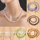 1x Faceted Crystal Glass Bead Statement Necklace Womens Jewelry Gift Fashion Hot
