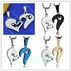 Men Women Couple Lover Crystal Jigsaw Love Heart Bail Pendant Stainless Necklace