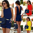 Womens Sexy V- Neck Sleeveless Short Playsuit Jumpsuit Tie Belt Romper Dress New