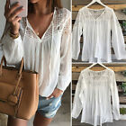 Women Blouse Long Sleeve Chiffon Lace Crochet White Blouses Casual T Shirt Tops